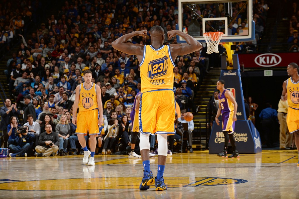 OAKLAND, CA - NOVEMBER 24: Draymond Green #23 of the Golden State Warriors during the game against the Los Angeles Lakers on November 24, 2015 at ORACLE Arena in Oakland, California. NOTE TO USER: User expressly acknowledges and agrees that, by downloading and or using this Photograph, user is consenting to the terms and conditions of the Getty Images License Agreement. Mandatory Copyright Notice: Copyright 2015 NBAE (Photo by Noah Graham/NBAE via Getty Images)