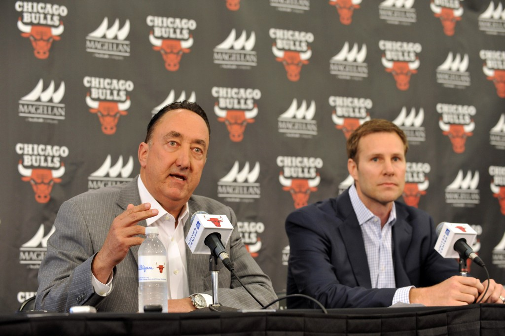 CHICAGO, IL - JUNE 02: Chicago Bulls General Manager Gar Forman introduces new Head Coach Fred Hoiberg during a press conference on June 2, 2015 at the Advocate Center in Chicago, Illinois. NOTE TO USER: User expressly acknowledges and agrees that, by downloading and/or using this photograph, user is consenting to the terms and conditions of the Getty Images License Agreement. Mandatory Copyright Notice: Copyright 2015 NBAE (Photo by Randy Belice/NBAE via Getty Images)