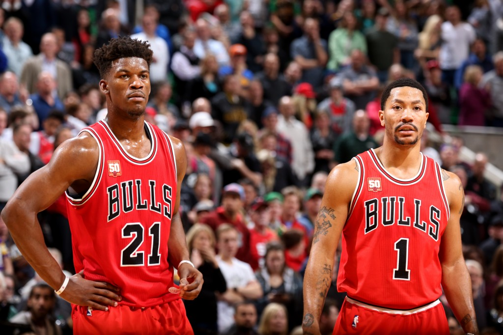 SALT LAKE CITY, UT - FEBRUARY 1: Jimmy Butler #21 and Derrick Rose #1 of the Chicago Bulls looks on during the game against the Utah Jazz on February 1, 2016 at EnergySolutions Arena in Salt Lake City, Utah. NOTE TO USER: User expressly acknowledges and agrees that, by downloading and or using this Photograph, User is consenting to the terms and conditions of the Getty Images License Agreement. Mandatory Copyright Notice: Copyright 2016 NBAE (Photo by Melissa Majchrzak/NBAE via Getty Images)