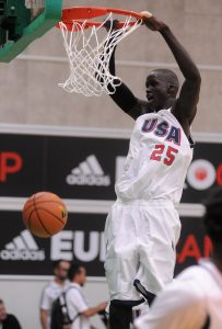 TREVISO, ITALY - JUNE 07: Thon Maker of team USA dunks during adidas Eurocamp day one at La Ghirada sports center on June 7, 2014 in Treviso, Italy. (Photo by Roberto Serra/Iguana Press/Getty Images)