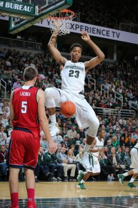 EAST LANSING, MI - NOVEMBER 13: Deyonta Davis #23 of the Michigan State Spartans dunks against Florida Atlantic Owls at the Breslin Center on November 13, 2015 in East Lansing, Michigan. (Photo by Rey Del Rio/Getty Images)