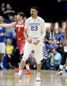 NASHVILLE, TN - MARCH 11: Jamal Murray #23 of the Kentucky Wildcats celebrates in the game against the Alabama Crimson Tide during the quarterfinals of the SEC Basketball Tournament at Bridgestone Arena on March 11, 2016 in Nashville, Tennessee. (Photo by Andy Lyons/Getty Images)