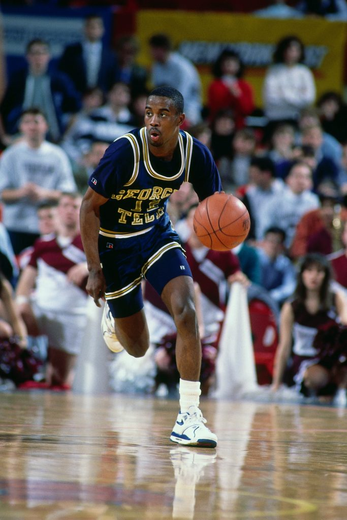 NEW YORK - CIRCA 1989: Kenny Anderson #12 of the Georgia Tech Yellow Jackets dribbles during a game played at Madison Square Garden in New York City circa 1989. NOTE TO USER: User expressly acknowledges and agrees that, by downloading and/or using this photograph, user is consenting to the terms and conditions of the Getty Images License Agreement. Mandatory Copyright Notice: Copyright 1989 NBAE (Photo by Nathaniel S. Butler/NBAE via Getty Images)