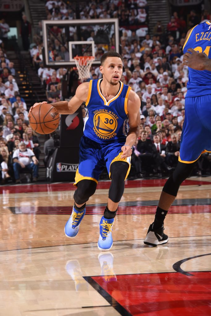 PORTLAND, OR - MAY 9: Stephen Curry #30 of the Golden State Warriors dribbles the ball against the Portland Trail Blazers in Game Four of the Western Conference Semifinals during the 2016 NBA Playoffs on May 9, 2016 at the Moda Center in Portland, Oregon. NOTE TO USER: User expressly acknowledges and agrees that, by downloading and or using this Photograph, user is consenting to the terms and conditions of the Getty Images License Agreement. Mandatory Copyright Notice: Copyright 2016 NBAE (Photo by Andrew D. Bernstein/NBAE via Getty Images)