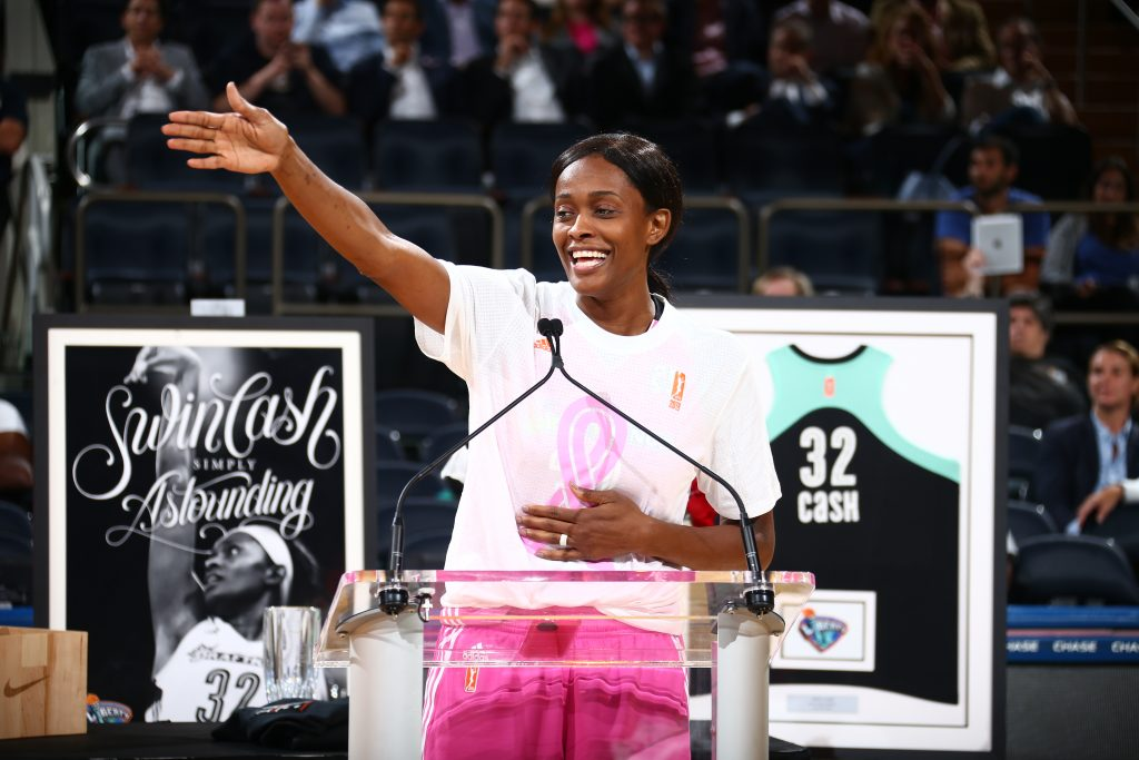 NEW YORK, NY - SEPTEMBER 7: Swin Cash #32 of the New York Liberty speaks during her retirement ceremony after the game against the Seattle Storm on September 7, 2016 at Madison Square Garden in New York, New York. NOTE TO USER: User expressly acknowledges and agrees that, by downloading and or using this photograph, User is consenting to the terms and conditions of the Getty Images License Agreement. Mandatory Copyright Notice: Copyright 2016 NBAE (Photo by Nathaniel S. Butler/NBAE via Getty Images)