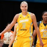 MINNEAPOLIS, MN - JULY 5:  Elena Delle Donne #11 and Jessica Breland #51 of the Chicago Sky reacts to a play during the game against the Minnesota Lynx on July 5, 2016 at Target Center in Minneapolis, Minnesota. NOTE TO USER: User expressly acknowledges and agrees that, by downloading and or using this Photograph, user is consenting to the terms and conditions of the Getty Images License Agreement. Mandatory Copyright Notice: Copyright 2016 NBAE (Photo by David Sherman/NBAE via Getty Images)