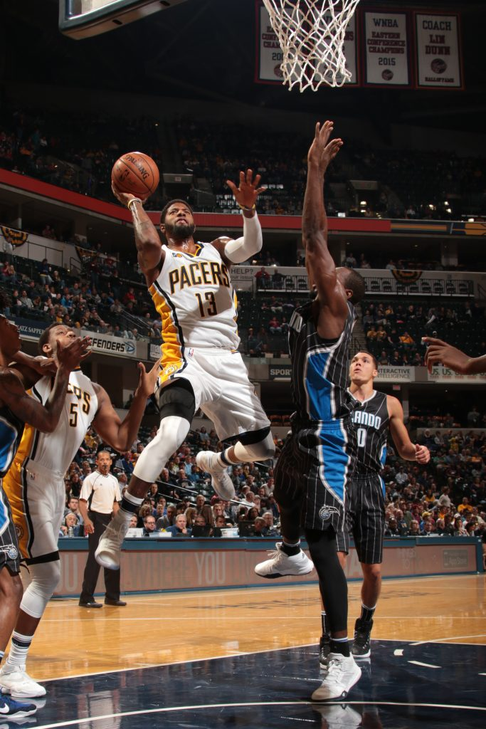 INDIANAPOLIS, IN - NOVEMBER 17: Paul George #13 of the Indiana Pacers shoots the ball against the Orlando Magic on November 17, 2016 at Bankers Life Fieldhouse in Indianapolis, Indiana. NOTE TO USER: User expressly acknowledges and agrees that, by downloading and or using this Photograph, user is consenting to the terms and conditions of the Getty Images License Agreement. Mandatory Copyright Notice: Copyright 2016 NBAE (Photo by Ron Hoskins/NBAE via Getty Images)