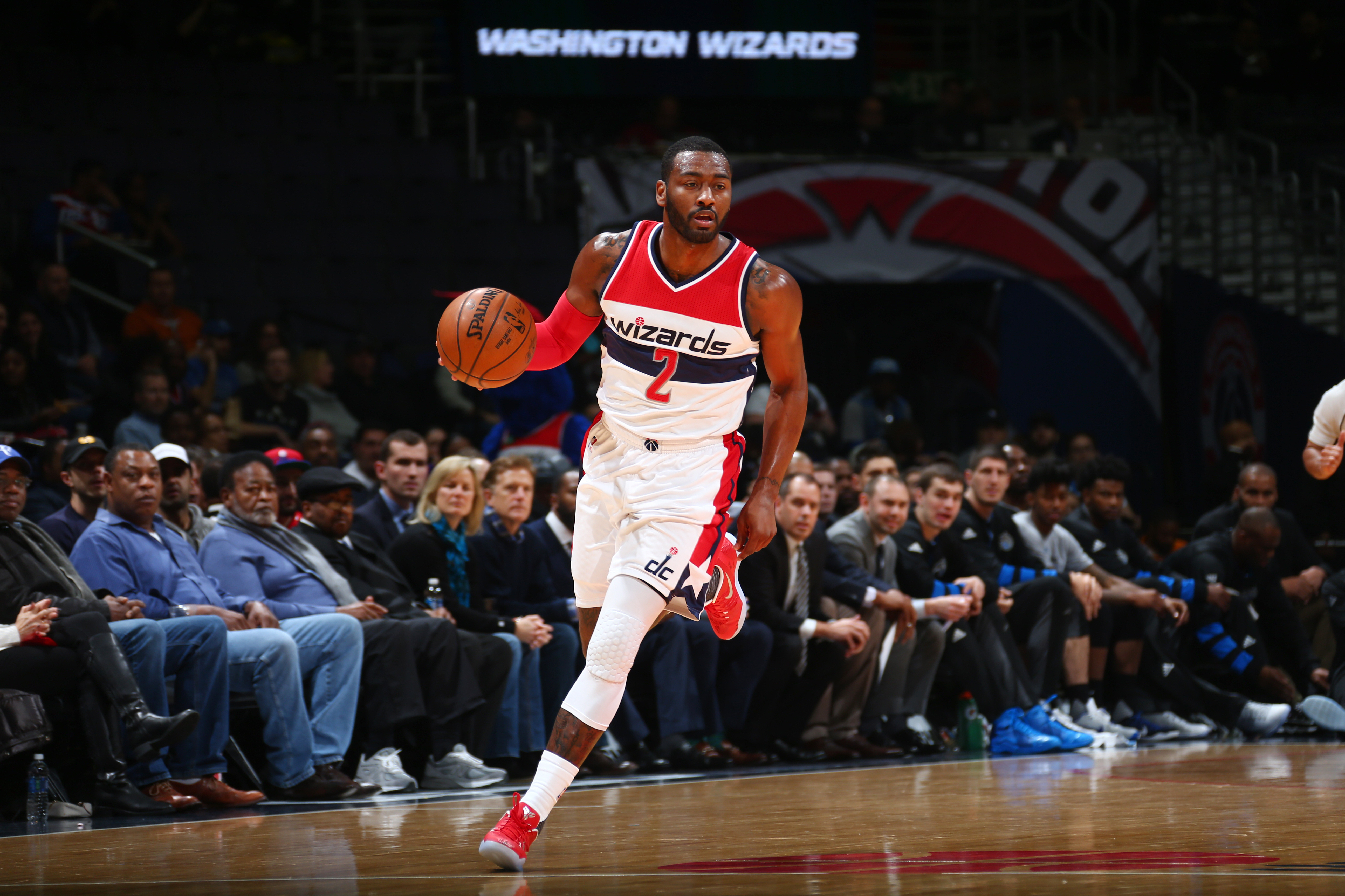 WASHINGTON, DC -DECEMBER 6:  John Wall #2 of the Washington Wizards handles the ball during a game against the Orlando Magic on December 6, 2016 at the Verizon Center in Washington, DC. NOTE TO USER: User expressly acknowledges and agrees that, by downloading and/or using this photograph, user is consenting to the terms and conditions of the Getty Images License Agreement. Mandatory Copyright Notice: Copyright 2016 NBAE (Photo by Ned Dishman/NBAE via Getty Images)