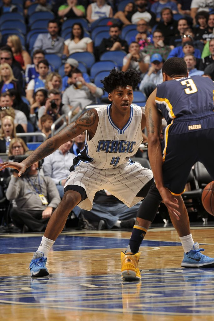 ORLANDO, FL - FEBRUARY 21: Elfrid Payton #4 of the Orlando Magic plays defense against George Hill #3 of the Indiana Pacers during the game on February 21, 2016 at Amway Center in Orlando, Florida. NOTE TO USER: User expressly acknowledges and agrees that, by downloading and or using this photograph, User is consenting to the terms and conditions of the Getty Images License Agreement. Mandatory Copyright Notice: Copyright 2016 NBAE (Photo by Gary Bassing/NBAE via Getty Images)