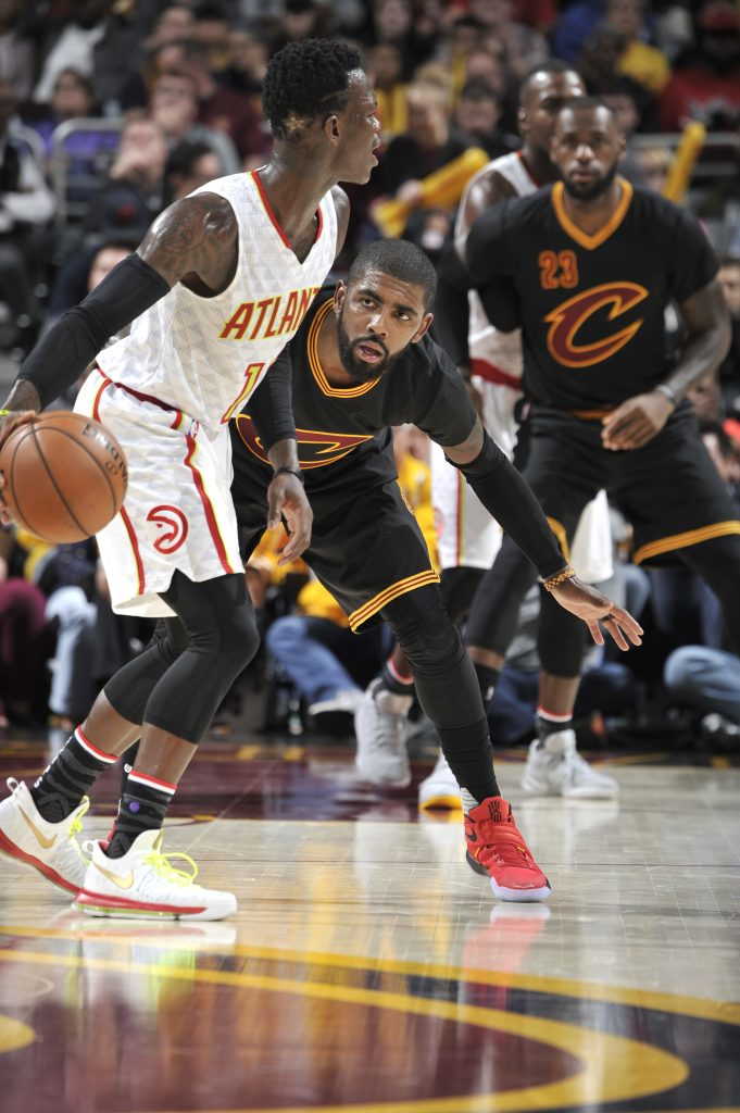 CLEVELAND, OH - NOVEMBER 8: Kyrie Irving #2 of the Cleveland Cavaliers plays defense against the Atlanta Hawks on November 8, 2016 at The Quicken Loans Arena in Cleveland, Ohio. NOTE TO USER: User expressly acknowledges and agrees that, by downloading and/or using this Photograph, user is consenting to the terms and conditions of the Getty Images License Agreement. Mandatory Copyright Notice: Copyright 2016 NBAE (Photo by David Liam Kyle/NBAE via Getty Images)