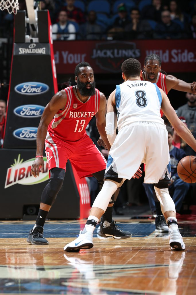 MINNEAPOLIS, MN - DECEMBER 17: James Harden #13 of the Houston Rockets defends against the Minnesota Timberwolves on December 17, 2016 at Target Center in Minneapolis, Minnesota. NOTE TO USER: User expressly acknowledges and agrees that, by downloading and or using this Photograph, user is consenting to the terms and conditions of the Getty Images License Agreement. Mandatory Copyright Notice: Copyright 2016 NBAE (Photo by David Sherman/NBAE via Getty Images)