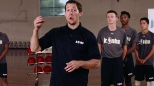 Watch Jr. NBA Coach Kyle Cummings work on early-stage rebounding fundamentals without a basketball in the No Ball Box Out Drill.
