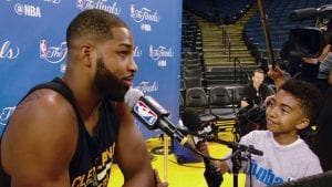 Jr. NBA Reporter Miles Brown with Tristan Thompson