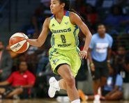 ATLANTA, GA - JULY 22:  Tiffany Bias #8 of the Dallas Wings brings the ball up court against the Atlanta Dream on July 22, 2016 at McCamish Pavilion in Atlanta, Georgia. NOTE TO USER: User expressly acknowledges and agrees that, by downloading and or using this Photograph, user is consenting to the terms and conditions of the Getty Images License Agreement. Mandatory Copyright Notice: Copyright 2016 NBAE (Photo by Kevin Liles/NBAE via Getty Images)