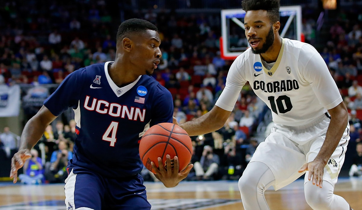 DES MOINES, IA - MARCH 17:  Sterling Gibbs #4 of the Connecticut Huskies handles the ball against Tre'Shaun Fletcher #10 of the Colorado Buffaloes in the first half during the first round of the 2016 NCAA Men's Basketball Tournament at Wells Fargo Arena on March 17, 2016 in Des Moines, Iowa.  (Photo by Kevin C. Cox/Getty Images)