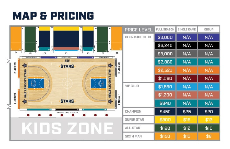 Stars Season Tickets Map and Pricing